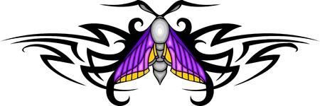 feelers: Polilla gris con alas rosados en el centro de un patr�n negro. Tatuaje de mariposa tribales. Ilustraci�n - color + en blanco y negro de vectores versiones.
