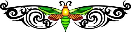 tatuaje mariposa: Polilla con alas verdes en el centro de un patr�n negro. Tatuaje de mariposa tribales. Ilustraci�n - color + en blanco y negro de vectores versiones. Vectores