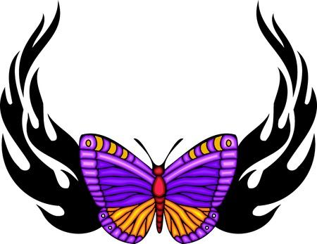 feelers: La mariposa con alas violetas en el centro de dibujo ardiente negro. Tatuaje de mariposa tribales. Ilustraci�n - color + en blanco y negro de vectores versiones. Vectores