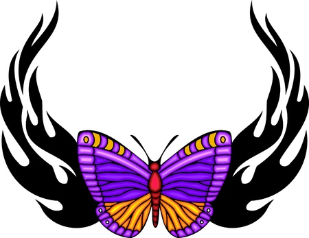 The butterfly with violet wings in the centre of black fiery drawing. Tribal butterfly tattoo. Vector illustration - color + b/w versions. Stock Vector - 8758938