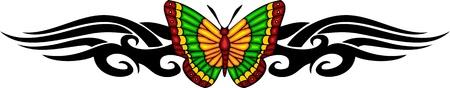 feelers: La mariposa con ella es alas verdes amarillos en el centro de un patr�n negro. Tatuaje de mariposa tribales. Ilustraci�n - color + en blanco y negro de vectores versiones. Vectores