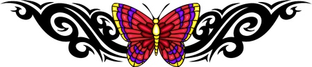 feelers: La mariposa con ella es alas rosas rojas en el centro de dibujo negro. Tatuaje de mariposa tribales. Ilustraci�n - color + en blanco y negro de vectores versiones.