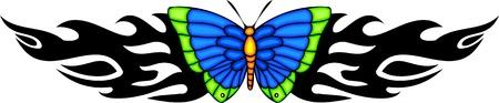 feelers: La mariposa con alas azules en el centro de un patr�n negro. Tatuaje de mariposa tribales. Ilustraci�n - color + en blanco y negro de vectores versiones.