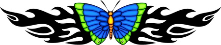 feelers: The butterfly with blue wings in the centre of a black pattern. Tribal butterfly tattoo. Vector illustration - color + bw versions.