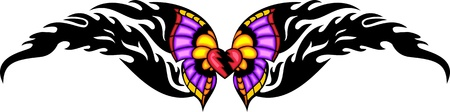 Heart with pink wings in the centre of a black fiery pattern. Tribal butterfly tattoo. Vector illustration - color + bw versions. Vector