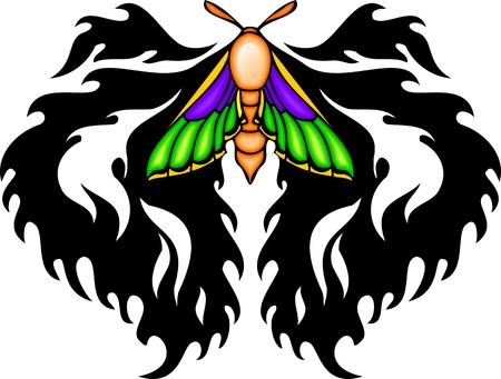 feelers: Con �l es violetas alas verdes desde arriba un patr�n negro. Tatuaje de mariposa tribales. Ilustraci�n - color + en blanco y negro de vectores versiones.