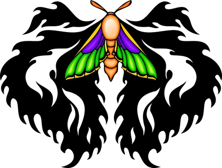 Moth with it is violet green wings from above a black pattern. Tribal butterfly tattoo. Vector illustration - color + bw versions. Vector