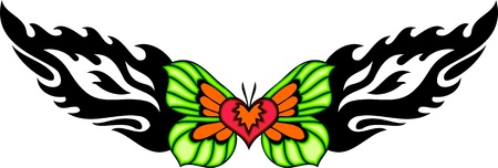 vlinder tattoo: Heart with green wings in the centre of a black pattern. Tribal butterfly tattoo. Vector illustration - color + bw versions.