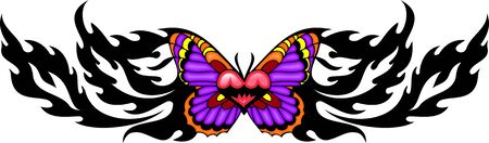 The butterfly with pink wings with red heart in the centre. Tribal butterfly tattoo. Vector illustration - color + bw versions. Vector