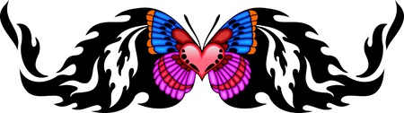 The butterfly with pink heart in the centre. Tribal butterfly tattoo. Vector illustration - color + bw versions. Vector
