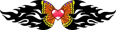 Pink heart with yellow wings in the centre of a black pattern. Tribal butterfly tattoo. Vector illustration - color + bw versions. Vector