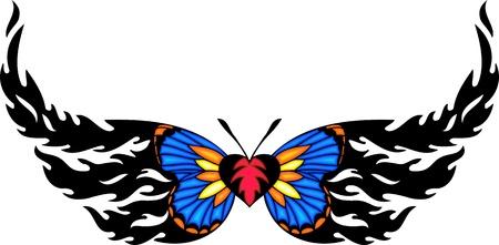 tatouage papillon: Le papillon avec ailes bleus et Rose coeur dans le centre. Tatouage tribal papillon. Vector illustration - couleur + nb des versions.
