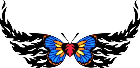 The butterfly with blue wings and pink heart in the centre. Tribal butterfly tattoo. Vector illustration - color + bw versions. Vector