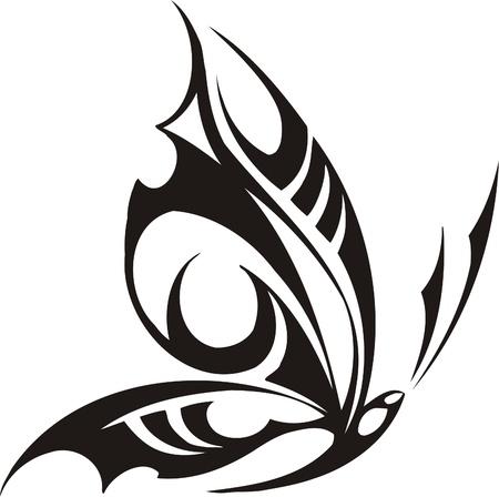 adornment: Illustrazione Butterflies.Vector tribali pronti per il taglio di vinile. Vettoriali