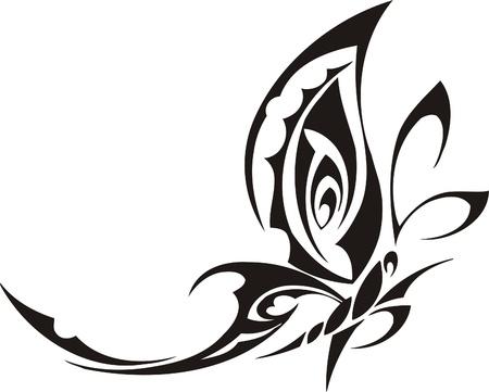 tekening vlinder: Tribal Butterflies.Vector Illustratie klaar voor vinyl snijden.