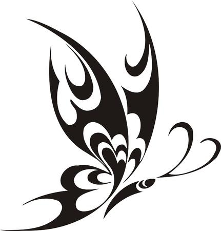 farfalla tatuaggio: Illustrazione Butterflies.Vector tribali pronti per il taglio di vinile. Vettoriali