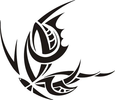 Tribal Butterflies.Vector illustration ready for vinyl cutting. Stock Vector - 8760409