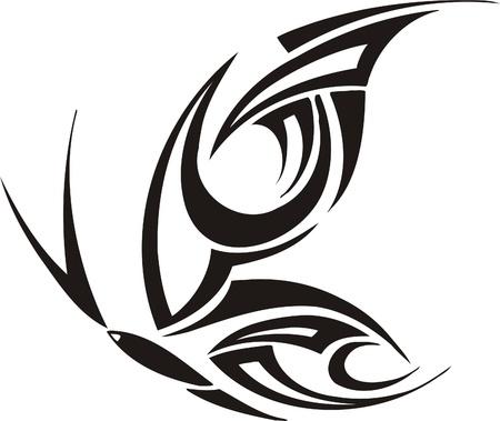 Tribal Butterflies.Vector illustration ready for vinyl cutting. Stock Vector - 8760370