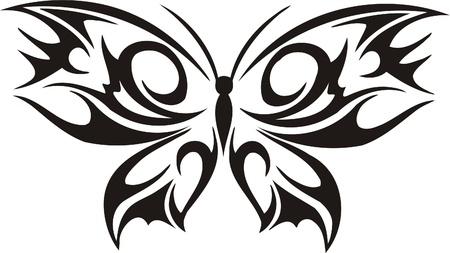 moth: Tribal Butterflies.Vector illustration ready for vinyl cutting. Illustration