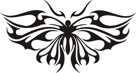 Illustrazione Butterflies.Vector tribali pronti per il taglio di vinile.