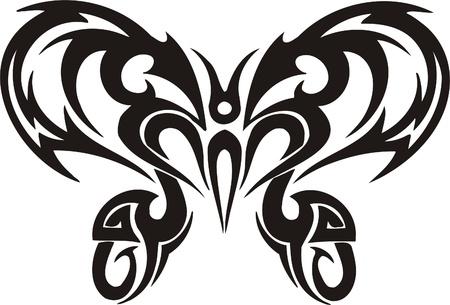 tribali: Illustrazione Butterflies.Vector tribali pronti per il taglio di vinile. Vettoriali