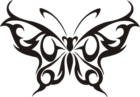 butterfly tattoo: Tribal Butterflies.Vector illustration ready for vinyl cutting. Illustration