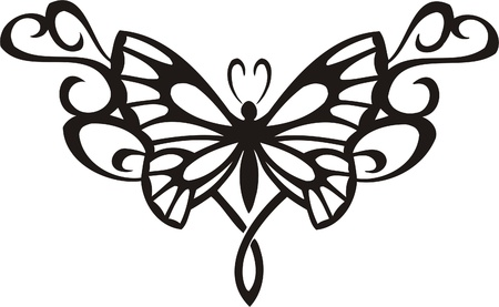 Tribal Butterflies.Vector illustration ready for vinyl cutting. 矢量图像