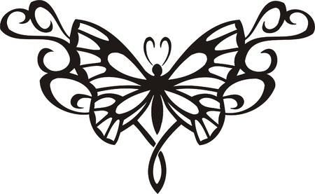 abstract tattoo: Tribal Butterflies.Vector illustration ready for vinyl cutting. Illustration