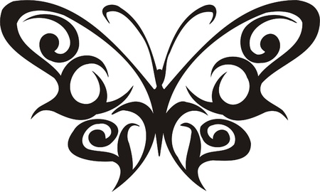 Tribal Butterflies.Vector illustration ready for vinyl cutting. Illustration