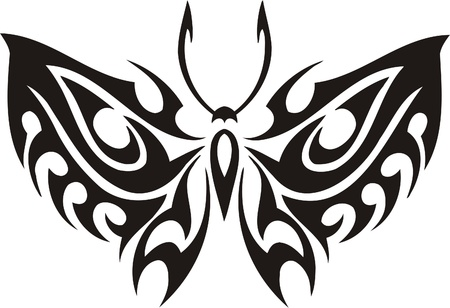 Tribal Butterflies.Vector illustration ready for vinyl cutting. Stock Vector - 8760419