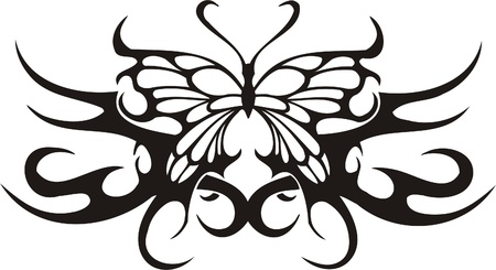 flame wings: Tribal Butterflies.Vector illustration ready for vinyl cutting. Illustration