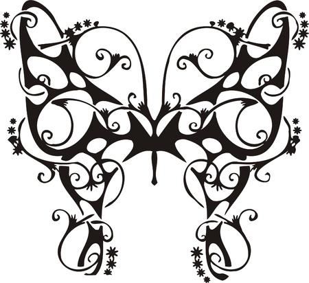 fantasy butterfly: Tribal Butterflies.Vector illustration ready for vinyl cutting. Illustration