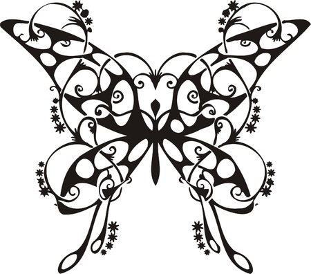 Tribal Butterflies.Vector illustration ready for vinyl cutting. 向量圖像