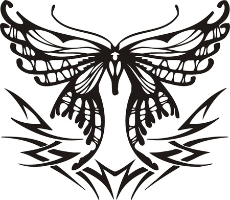 Tribal Butterflies.Vector illustration ready for vinyl cutting. Stock Vector - 8760538