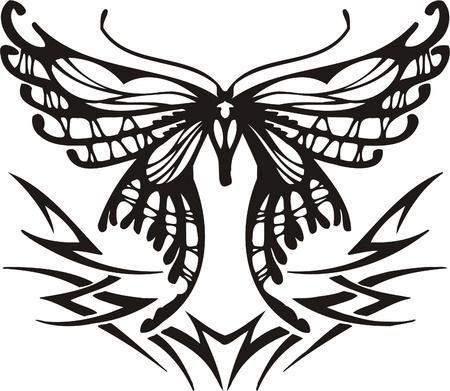 Tribal Butterflies.Vector illustration ready for vinyl cutting. Stock Vector - 8760538