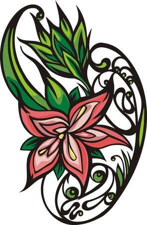 Hearts &  Flowers. illustration ready for vinyl cutting.