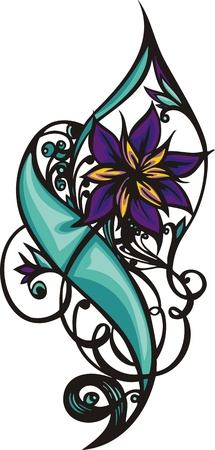 Hearts & Flowers.  illustration ready for vinyl cutting. Vector
