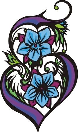 grace: Hearts & Flowers.  illustration ready for vinyl cutting.