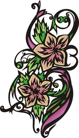 grace: Hearts & Flowers .Vector illustration ready for vinyl cutting.