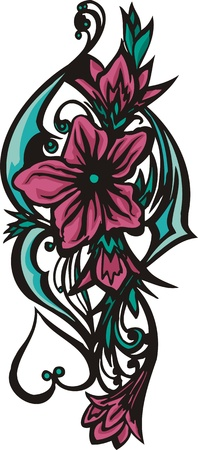 Flowers .Vector illustration ready for vinyl cutting. Vector