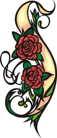 grace:  Hearts & Flowers.  illustration ready for vinyl cutting. Illustration