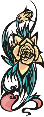 vinyl cutting:   Flowers .Vector illustration ready for vinyl cutting.