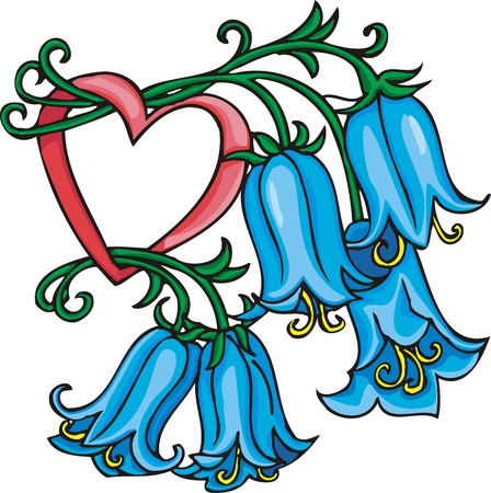 Hearts &  Flowers .Vector illustration ready for vinyl cutting. Vector