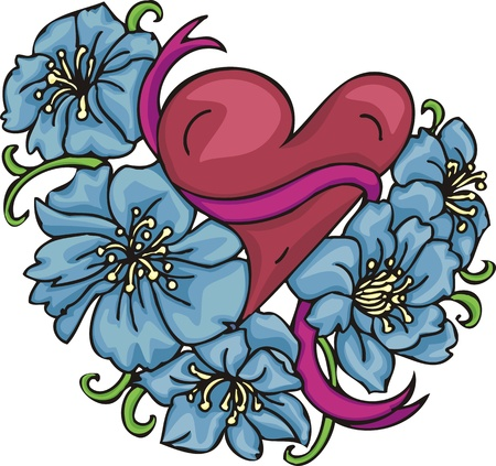 christmas tattoo: Hearts &  Flowers. Vector illustration ready for vinyl cutting.