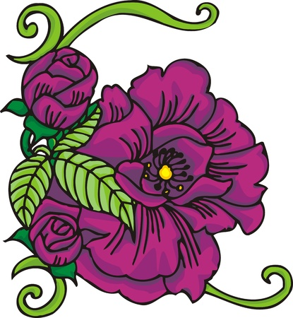 Hearts & Flowers .Vector illustration ready for vinyl cutting. Stock Vector - 8760104