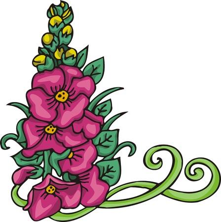 Hearts & flowers .Vector illustration ready for vinyl cutting. Vector Illustration