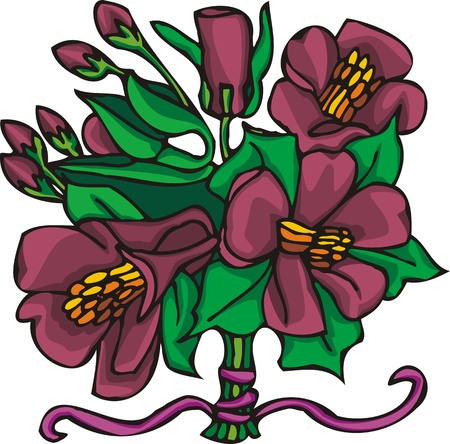 Hearts & Flowers .Vector illustration ready for vinyl cutting. Stock Vector - 8760834