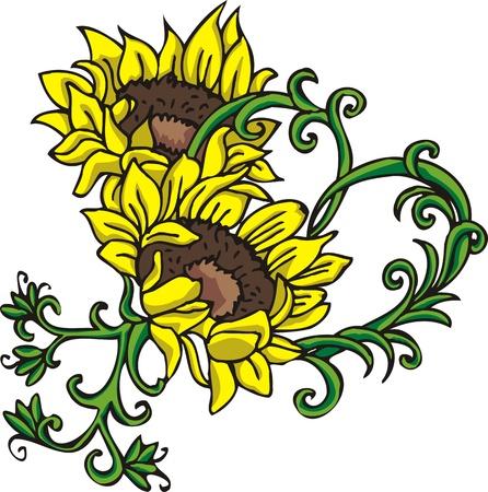 Flores & de corazones.Ilustración de vector listo para el corte de vinilo.