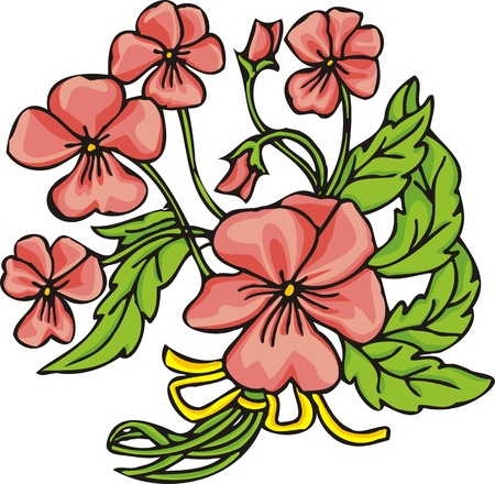 Hearts &  Flowers.  illustration ready for vinyl cutting. Stock Vector - 8760186