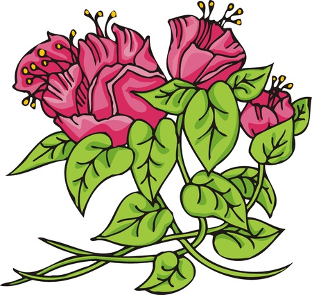 Hearts  Flowers .Vector illustration ready for vinyl cutting. Stock Vector - 8760121